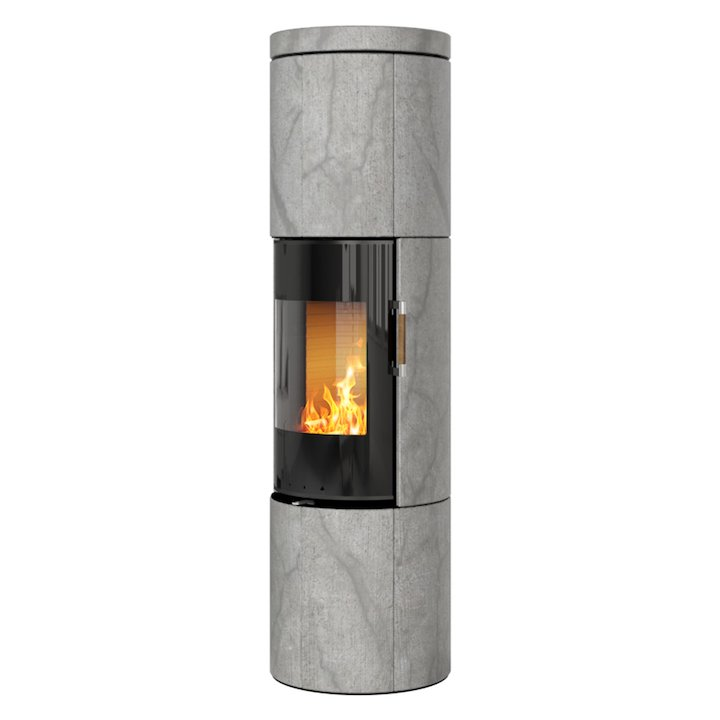 Rais Juno 160 Wood Stove Black Glass/Soapstone Black Glass Framed Door Solid Sides - Black Glass / Soapstone