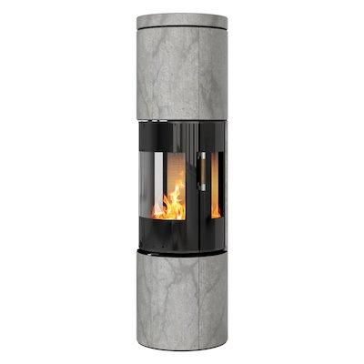 Rais Juno 160 Wood Stove Black Glass/Soapstone Black Glass Framed Door Side Glass Windows
