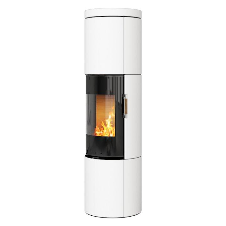 Rais Juno 160 Wood Stove Black Glass/White Black Glass Framed Door Solid Sides - Black Glass / White