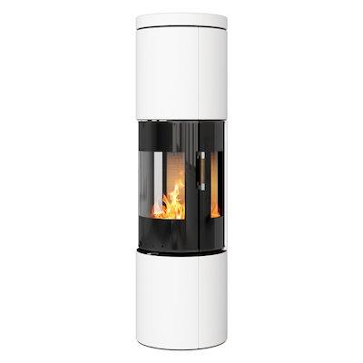 Rais Juno 160 Wood Stove Black Glass/White Black Glass Framed Door Side Glass Windows