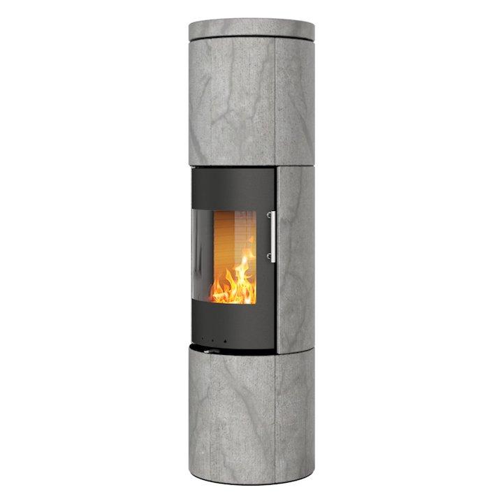 Rais Juno 160 Wood Stove Black/Soapstone Metal Framed Door Solid Sides - Black / Soapstone