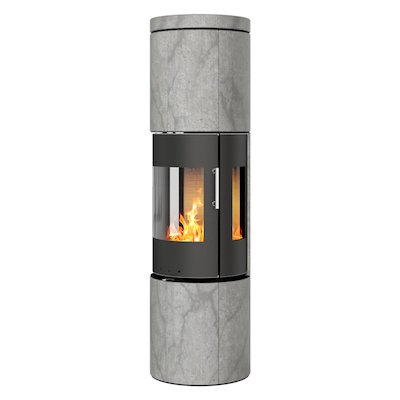 Rais Juno 160 Wood Stove Black/Soapstone Metal Framed Door Side Glass Windows