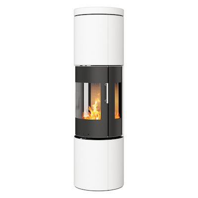 Rais Juno 160 Wood Stove Black/White Metal Framed Door Side Glass Windows