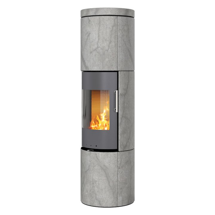 Rais Juno 160 Wood Stove Platinum/Soapstone Metal Framed Door Solid Sides - Platinum / Soapstone