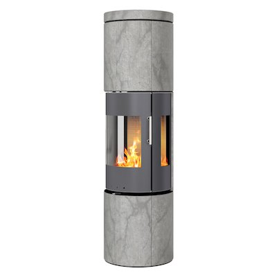 Rais Juno 160 Wood Stove Platinum/Soapstone Metal Framed Door Side Glass Windows