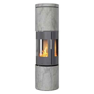 Rais Juno 160 Wood Stove Platinum/Soapstone Metal Framed Door Side Glass Windows