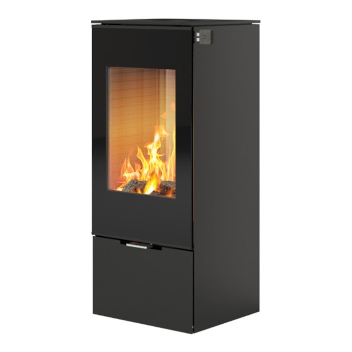Rais Nexo 100 Wood Stove Black Black Glass Framed Door Solid Sides - Black