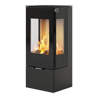 Rais Nexo 100 Wood Stove Black Black Glass Framed Door Side Glass Windows