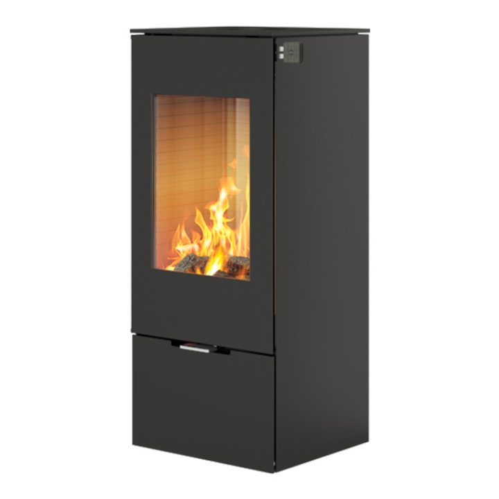 Rais Nexo 100 Wood Stove Black Metal Framed Door Solid Sides - Black