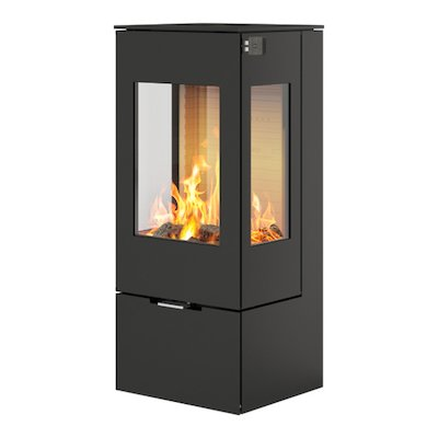 Rais Nexo 100 Wood Stove Black Metal Framed Door Side Glass Windows