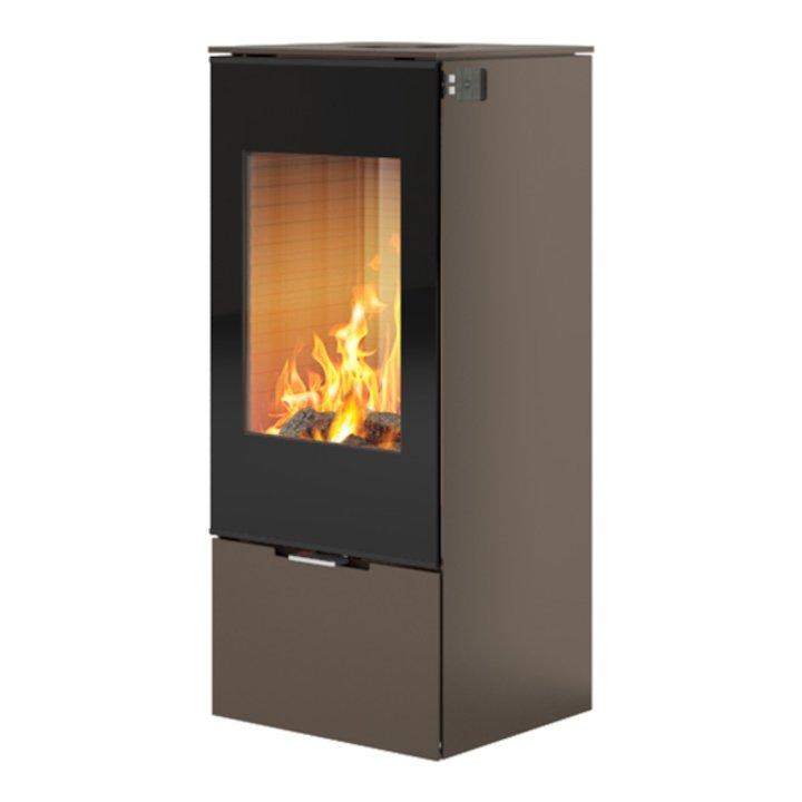 Rais Nexo 100 Wood Stove Mocha Black Glass Framed Door Solid Sides - Mocha