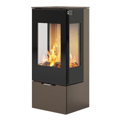 Rais Nexo 100 Wood Stove Mocha Black Glass Framed Door Side Glass Windows