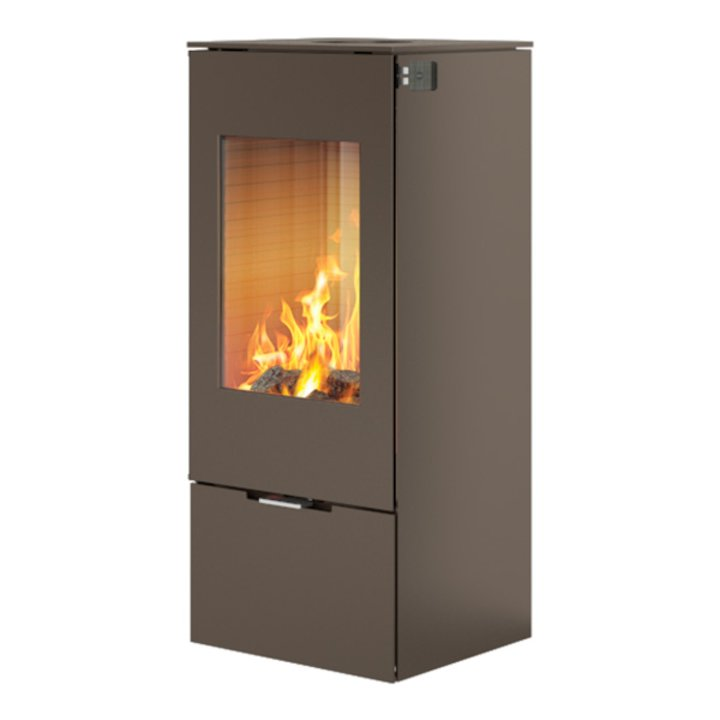 Rais Nexo 100 Wood Stove Mocha Metal Framed Door Solid Sides - Mocha