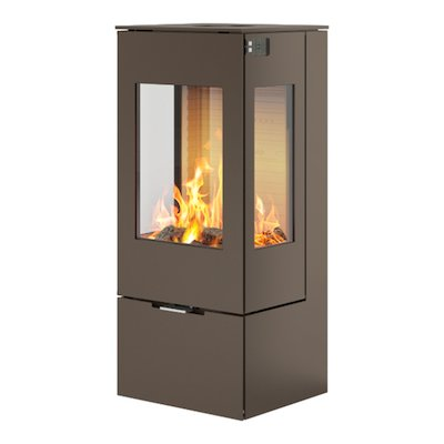 Rais Nexo 100 Wood Stove Mocha Metal Framed Door Side Glass Windows