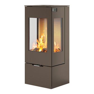 Rais Nexo 100 Wood Stove Mocha Metal Framed Door Side Glass Windows