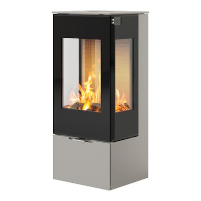Rais Nexo 100 Wood Stove Nickel Black Glass Framed Door Side Glass Windows