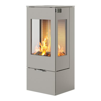 Rais Nexo 100 Wood Stove Nickel Metal Framed Door Side Glass Windows
