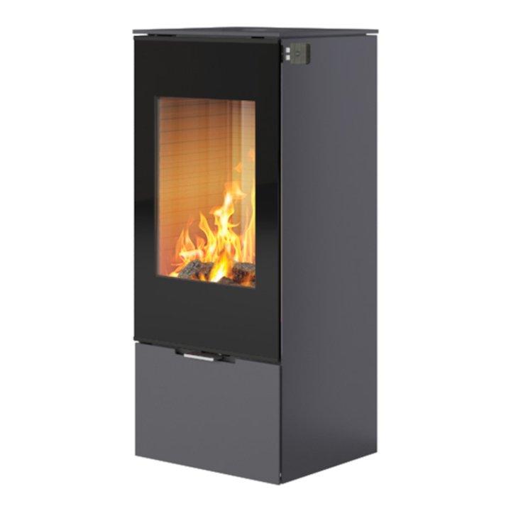 Rais Nexo 100 Wood Stove Platinum Black Glass Framed Door Solid Sides - Platinum