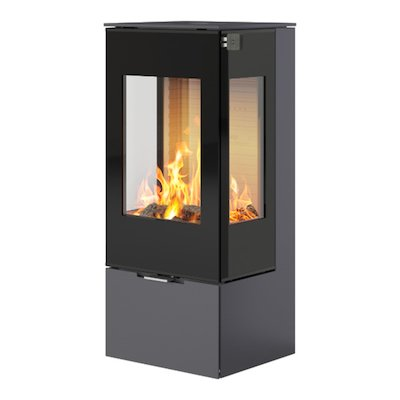 Rais Nexo 100 Wood Stove Platinum Black Glass Framed Door Side Glass Windows