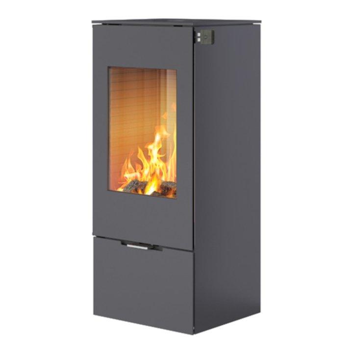 Rais Nexo 100 Wood Stove Platinum Metal Framed Door Solid Sides - Platinum