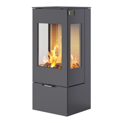 Rais Nexo 100 Wood Stove Platinum Metal Framed Door Side Glass Windows