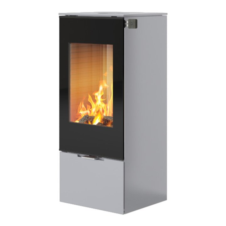 Rais Nexo 100 Wood Stove Silver Black Glass Framed Door Solid Sides - Silver Filigree