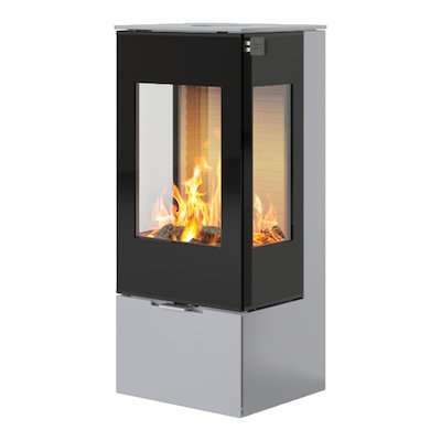 Rais Nexo 100 Wood Stove Silver Black Glass Framed Door Side Glass Windows