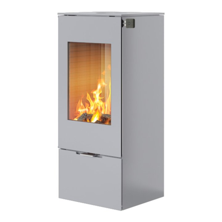 Rais Nexo 100 Wood Stove Silver Metal Framed Door Solid Sides - Silver Filigree