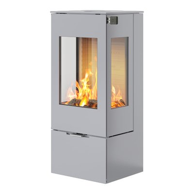 Rais Nexo 100 Wood Stove Silver Metal Framed Door Side Glass Windows