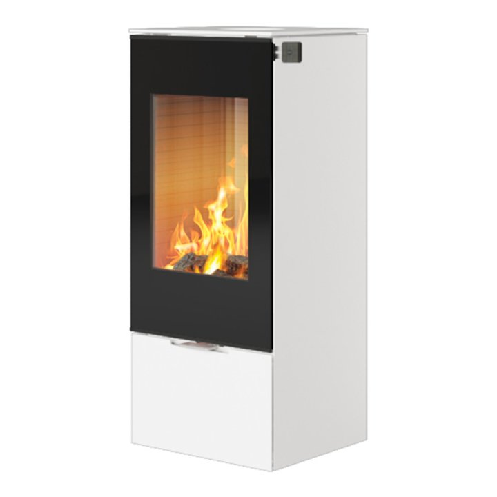 Rais Nexo 100 Wood Stove White Black Glass Framed Door Solid Sides - White