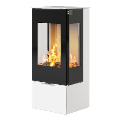 Rais Nexo 100 Wood Stove White Black Glass Framed Door Side Glass Windows