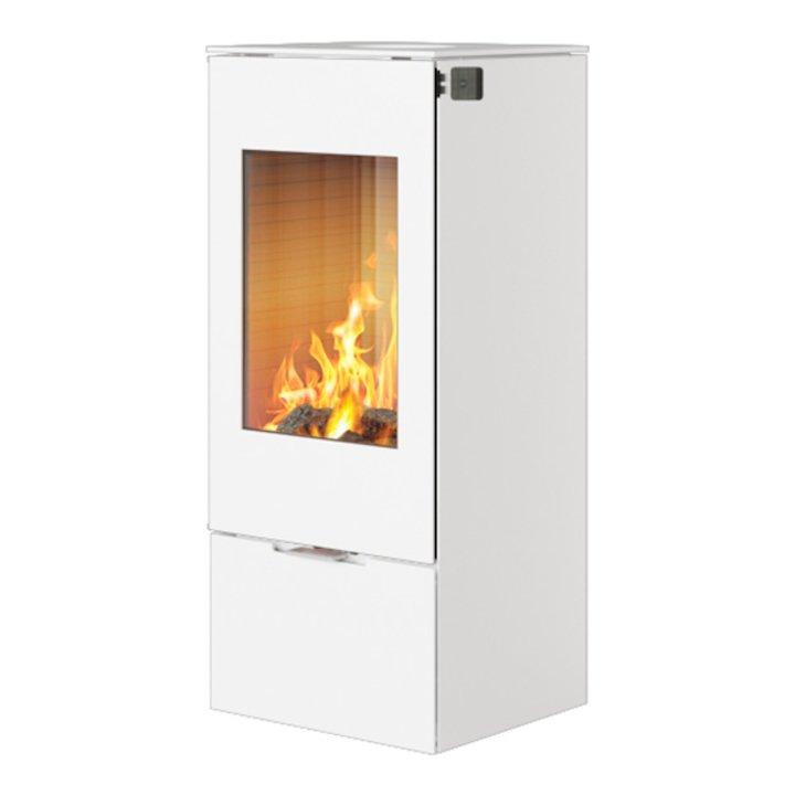 Rais Nexo 100 Wood Stove White Metal Framed Door Solid Sides - White