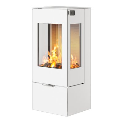Rais Nexo 100 Wood Stove White Metal Framed Door Side Glass Windows