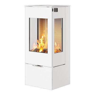 Rais Nexo 100 Wood Stove White Metal Framed Door Side Glass Windows