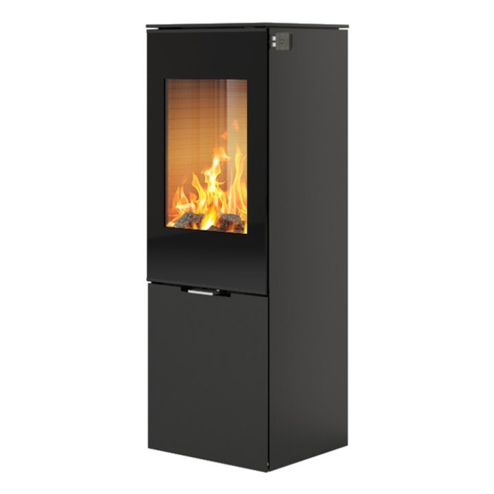 Rais Nexo 120 Wood Stove Black Black Glass Framed Door Solid Sides - Black