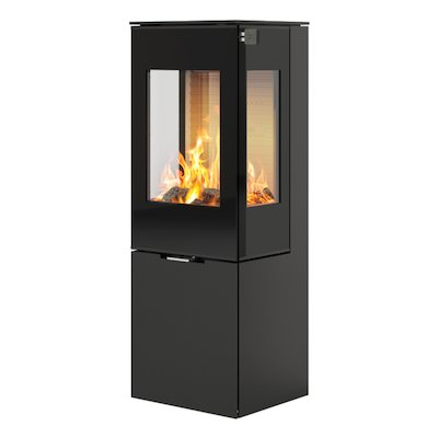 Rais Nexo 120 Wood Stove Black Black Glass Framed Door Side Glass Windows