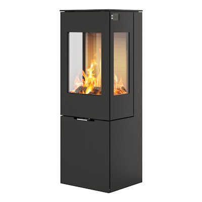 Rais Nexo 120 Wood Stove Black Metal Framed Door Side Glass Windows