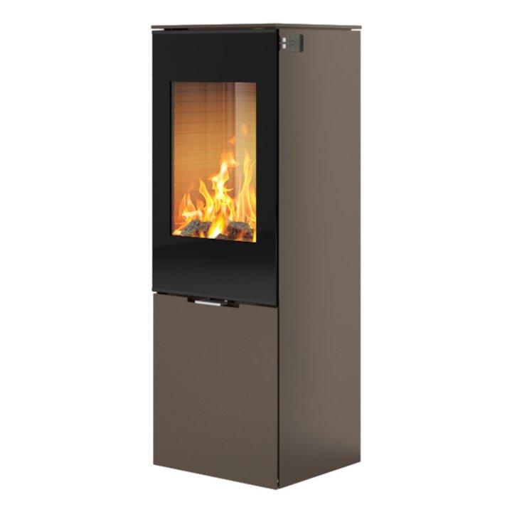 Rais Nexo 120 Wood Stove Mocha Black Glass Framed Door Solid Sides - Mocha