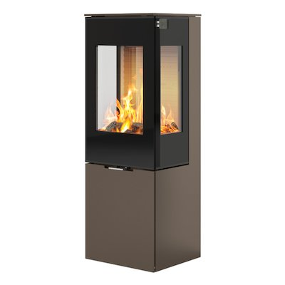 Rais Nexo 120 Wood Stove Mocha Black Glass Framed Door Side Glass Windows