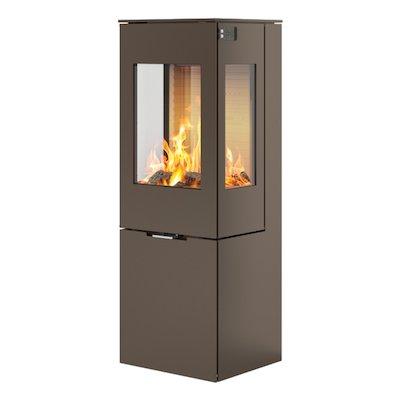 Rais Nexo 120 Wood Stove Mocha Metal Framed Door Side Glass Windows
