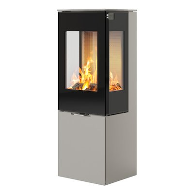 Rais Nexo 120 Wood Stove Nickel Black Glass Framed Door Side Glass Windows
