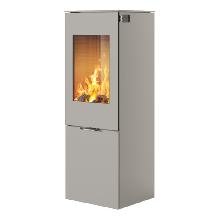 Rais Nexo 120 Wood Stove Nickel Metal Framed Door Solid Sides - Nickel
