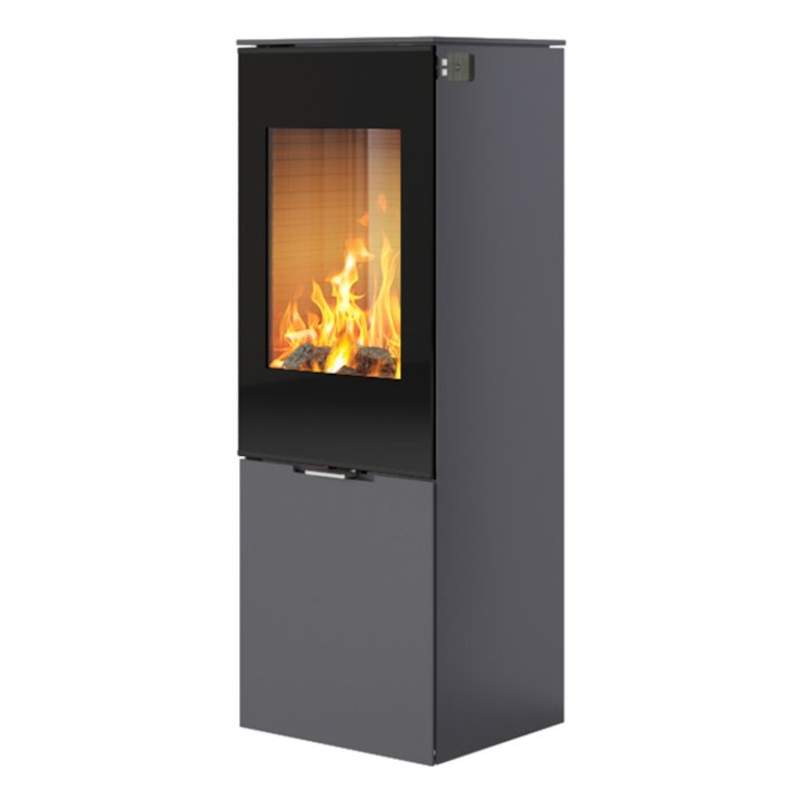 Rais Nexo 120 Wood Stove Platinum Black Glass Framed Door Solid Sides - Platinum