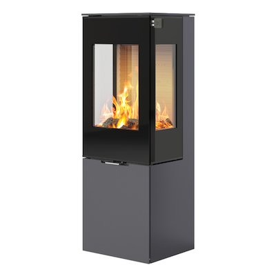 Rais Nexo 120 Wood Stove Platinum Black Glass Framed Door Side Glass Windows