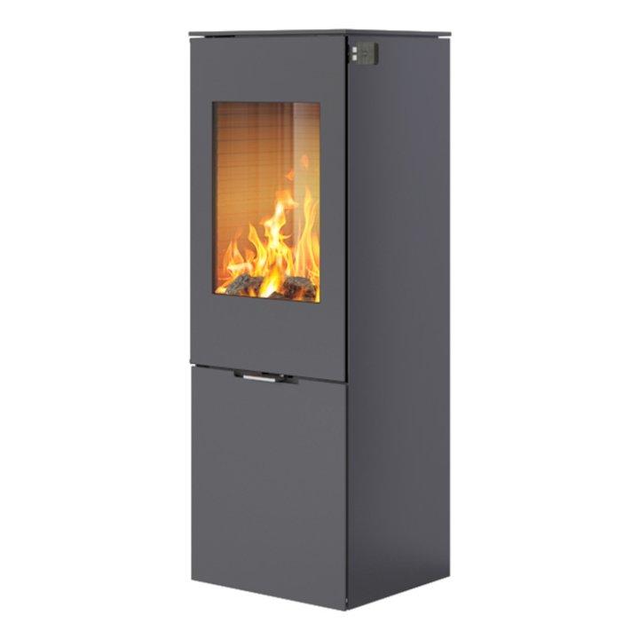 Rais Nexo 120 Wood Stove Platinum Metal Framed Door Solid Sides - Platinum
