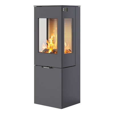 Rais Nexo 120 Wood Stove Platinum Metal Framed Door Side Glass Windows