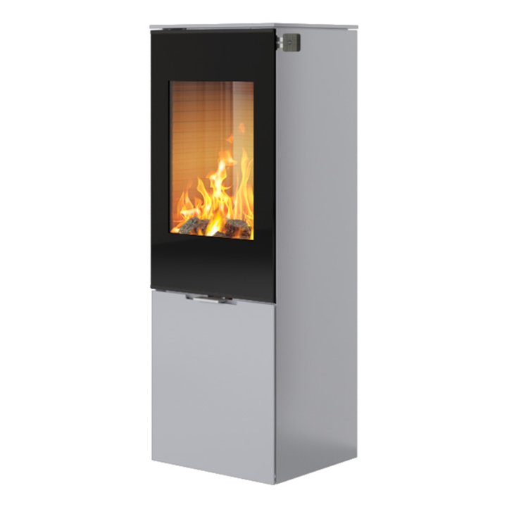 Rais Nexo 120 Wood Stove Silver Black Glass Framed Door Solid Sides - Silver Filigree