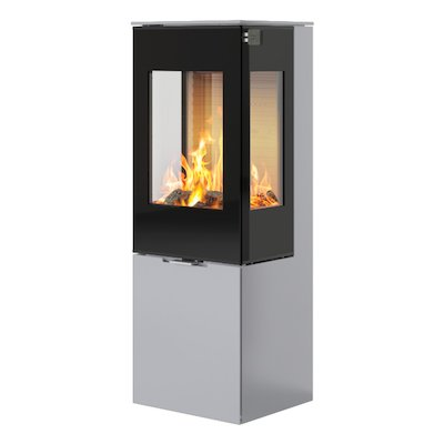 Rais Nexo 120 Wood Stove Silver Black Glass Framed Door Side Glass Windows