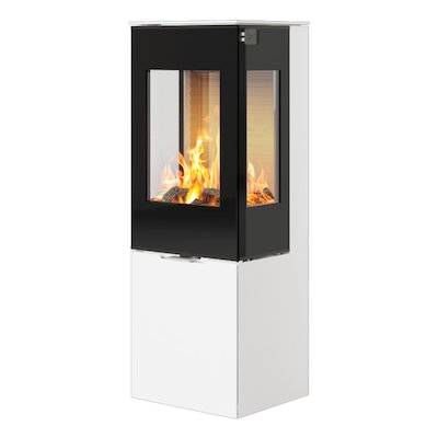 Rais Nexo 120 Wood Stove White Black Glass Framed Door Side Glass Windows