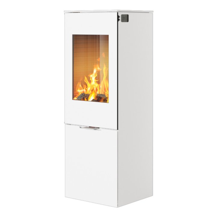 Rais Nexo 120 Wood Stove White Metal Framed Door Solid Sides - White